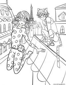 coloriage ladybyg et chat noir